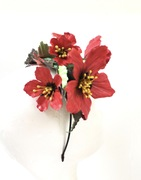 Red flowers leather headpiece