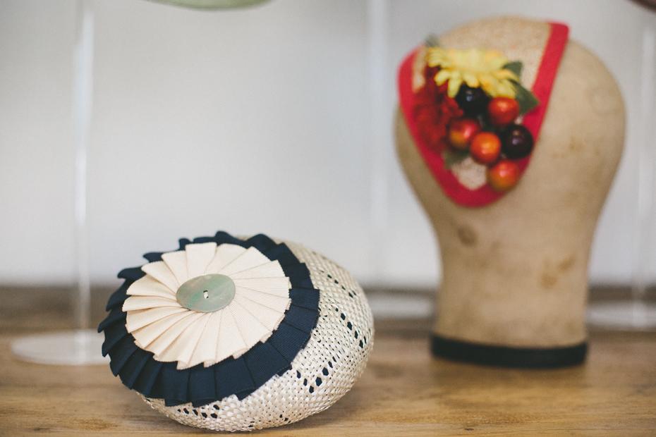 Straw Button Hat and Straw Half Hat