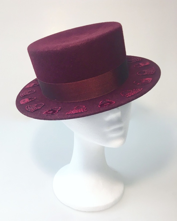 Bordeaux Boater Hat by Anastasia Frei