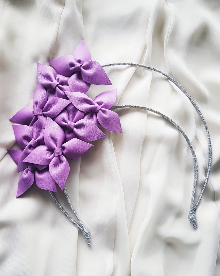 Lilac leather flowers on a silver halo