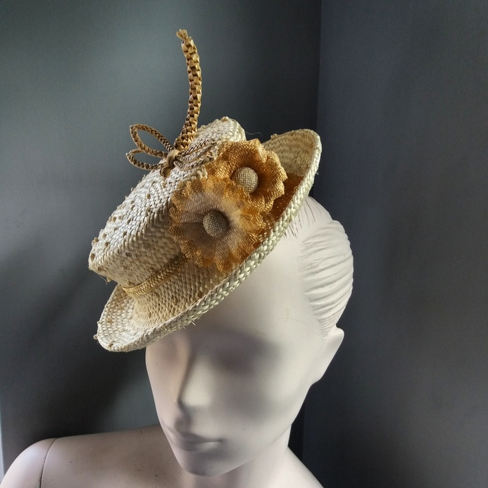 Small straw hat with dragonfly for the Henley Regatta