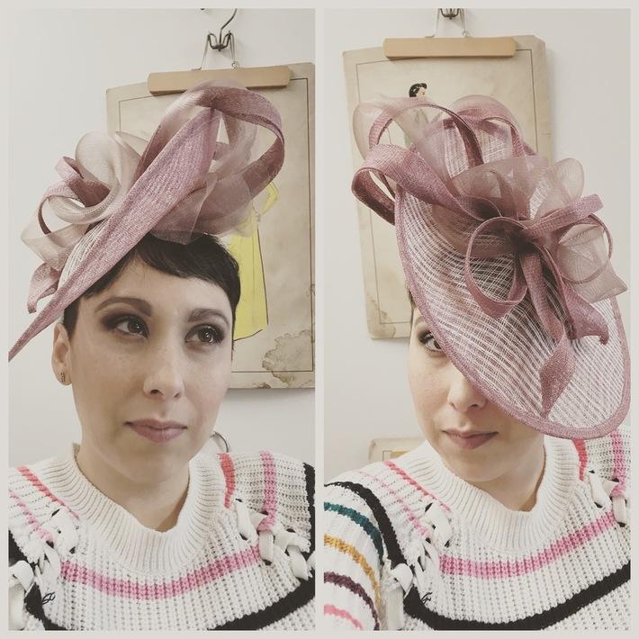Blush Pink Tilt Hat Sinamay Saucer