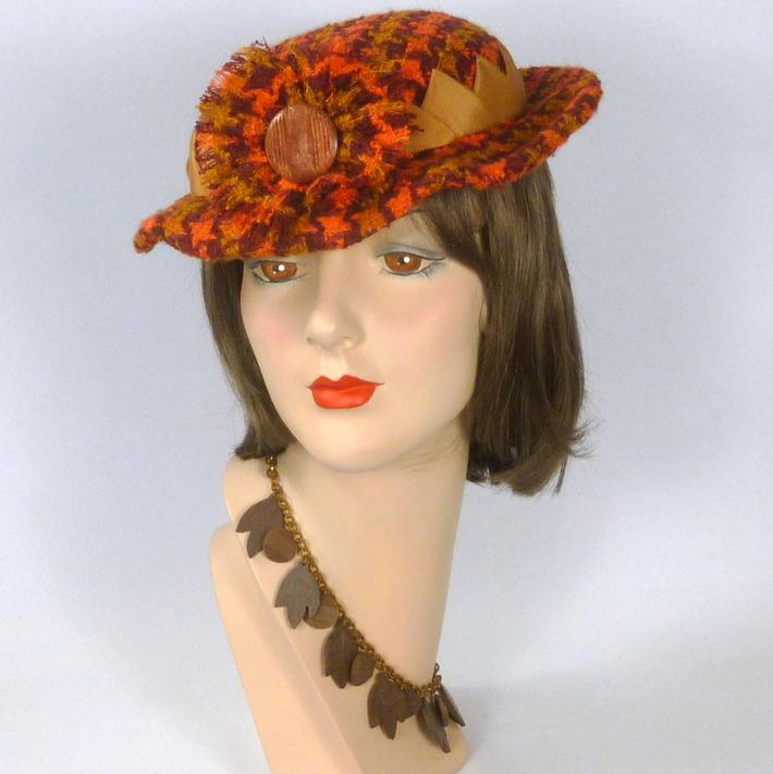 Burnt Orange & Mustard Hounds tooth Hat