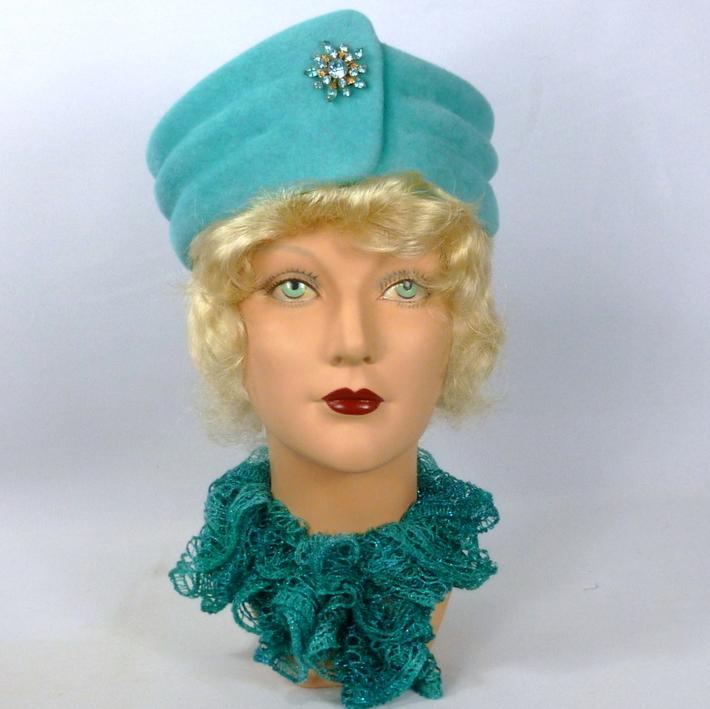 Turquoise Blue Felt Turban Style Hat