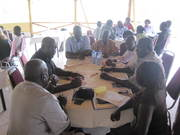 Delegates from the Ministry of Peace in South Sudan meet with Civil Society leaders