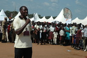 Lino Owor addresses the crowd