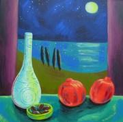 pomegranates in moonlight