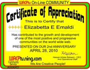 """CERTIFICATE OF APPRECIATION TO ELISABETTA FROM HASSAN ARTISTE RAHEEM """"WE ARE CREATIVE PEOPLE"""""""