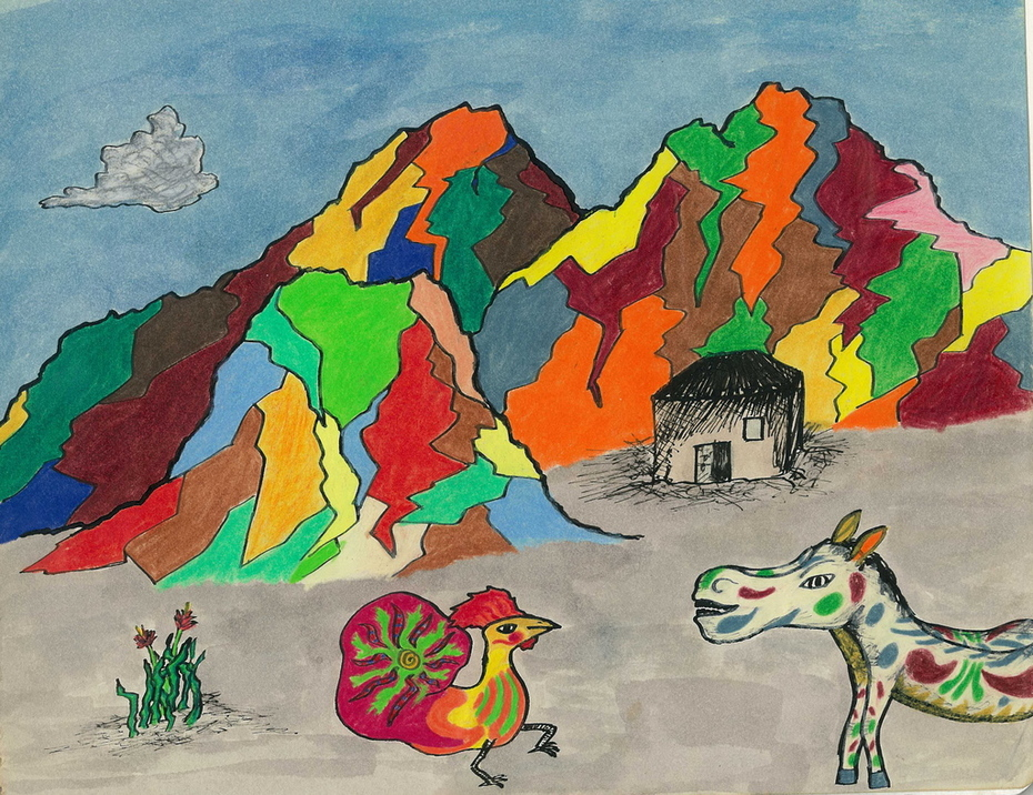 donkey and chicken with colorful mountains