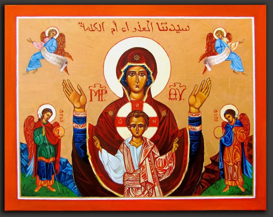 Virgin Orans Icon - of the Sign - Platytera - Panagia- WindowIntoHeaven  Anna Edelman