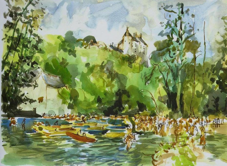 Kayaks sur la lesse et château de Walzin
