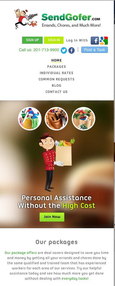 Send Gofer's Mobile Website Design
