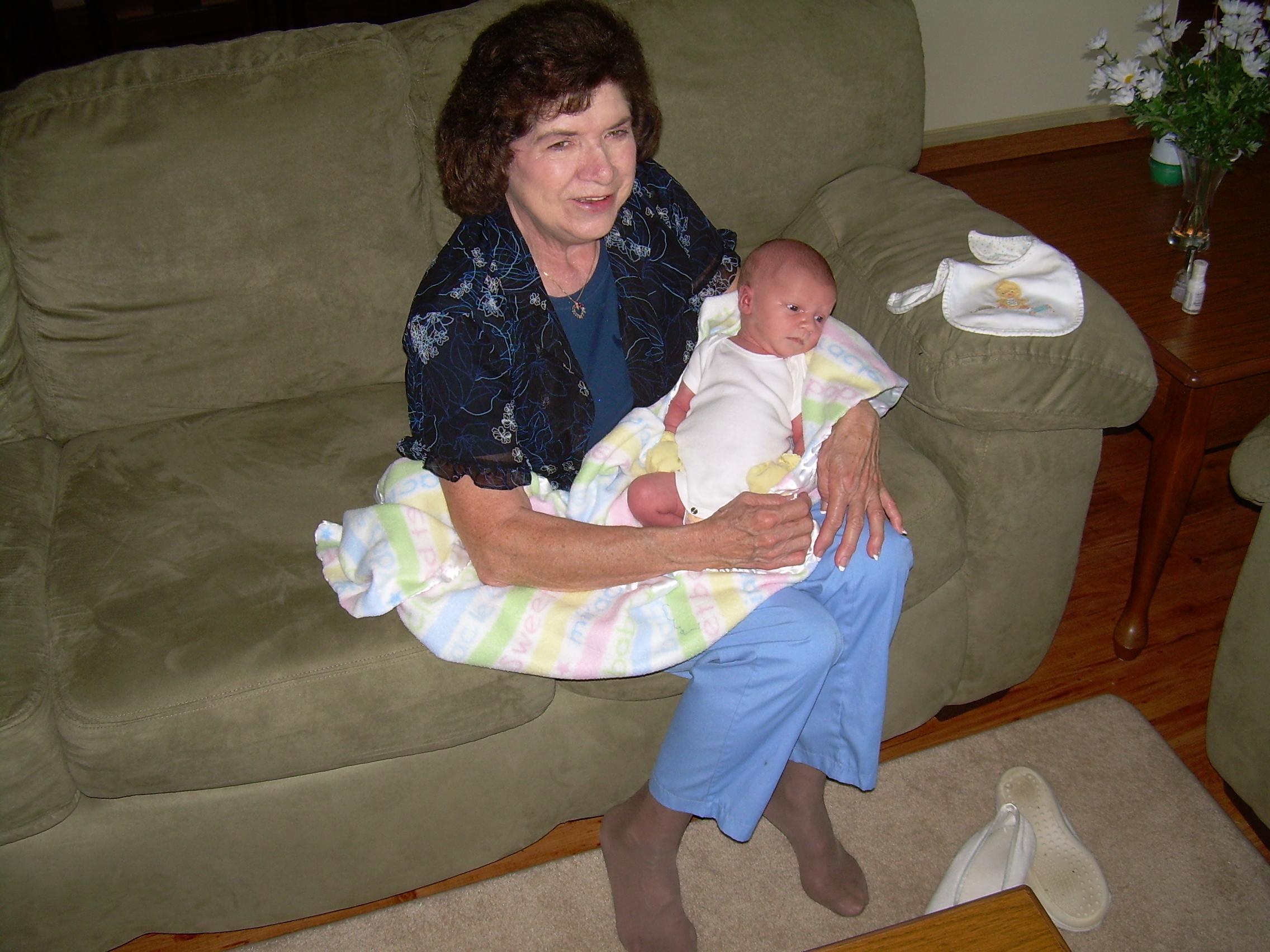 Betty Jo Toney visiting her grandson