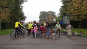 Gathering for cycle ride to Lewes