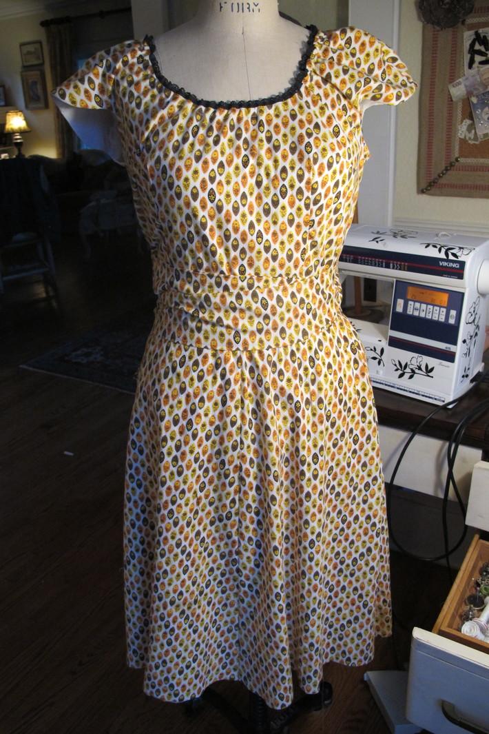 Orange Vintage fabric Collette Crepe