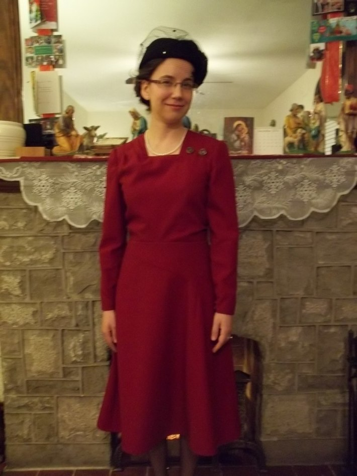 1946 Red Wool Suit Dress