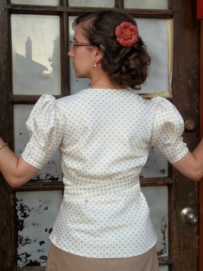 Puff-Sleeve 1936 Blouse (back view)