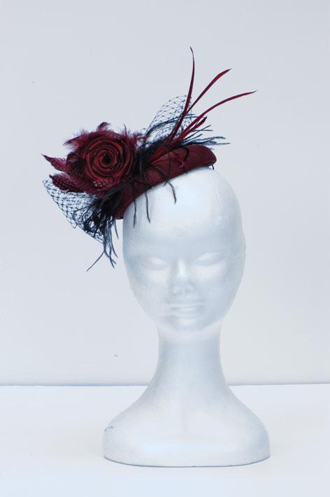 Burgundy-pill-box-hat 4