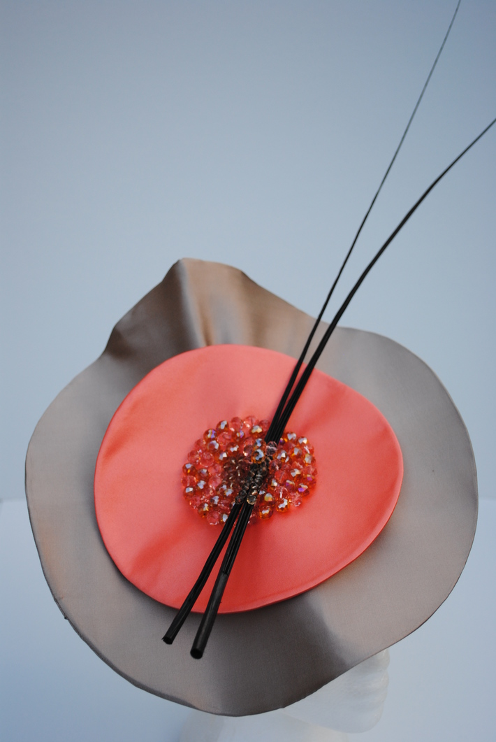 Taupe Silk Disk with Coral Centre Disk and Black Ostrich Quill