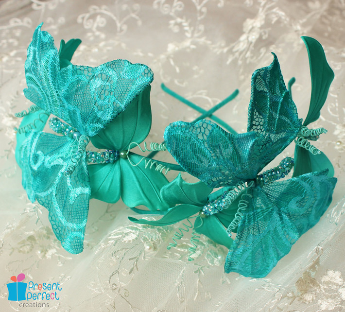 Silk and lace butterfly trio headdress