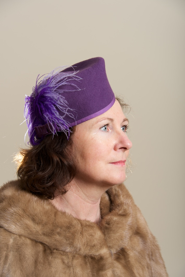 Purple Felt Hat Women Millinery