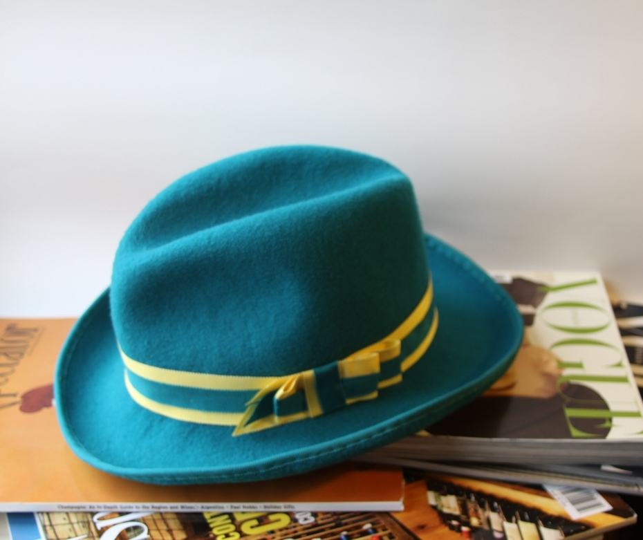 Turquoise Homburg Fedora Inisex Hat Millinery
