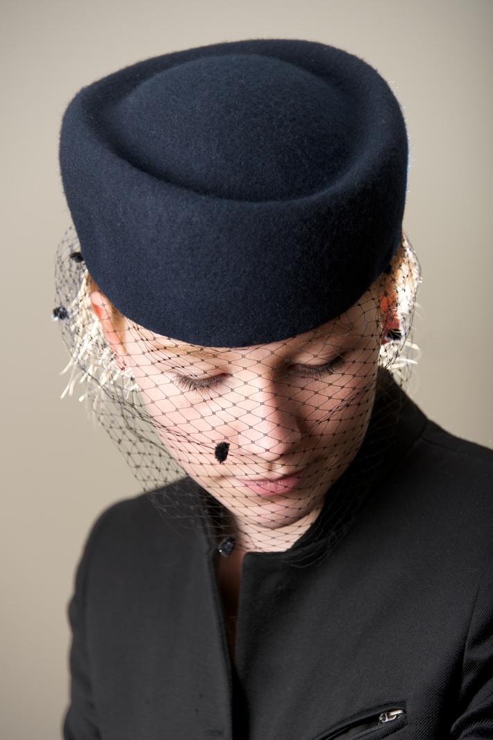 Oxford Blue Veiled Hat