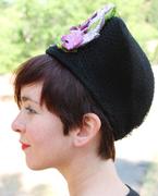 1940s-Style Black Felt Turban with Vintage Chenille Millinery Irises and Vintage Veiling