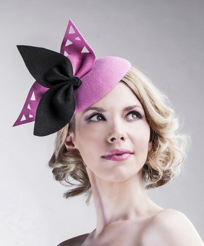 pink_black_fascinator_wool_all_year_round_hat_women