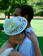 white bridal lace  fascinator hat for women