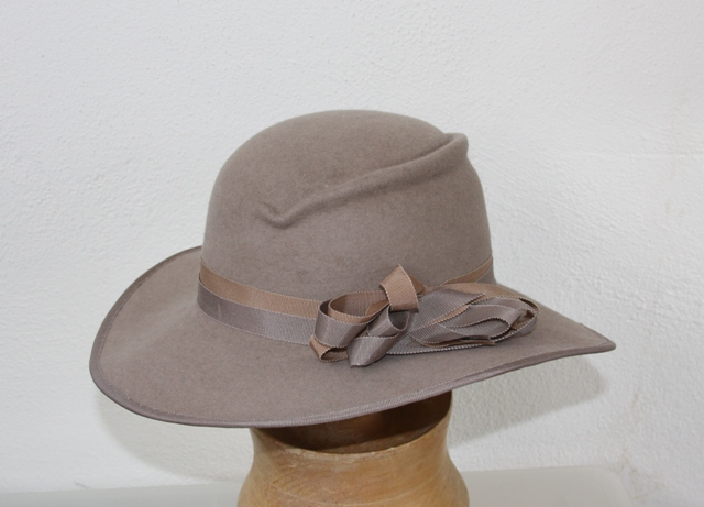 Beige Wide Brim Women Hat Fedora, Millinery