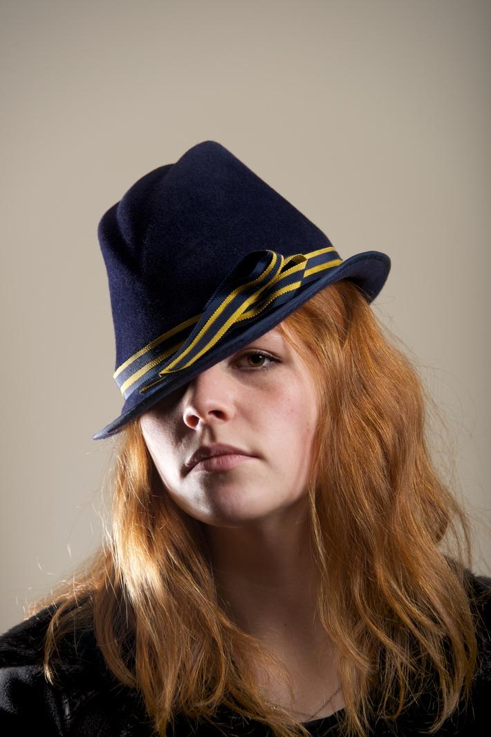 Navy Blue Women Hat fur Felt, Trilby, Fedora Millinery