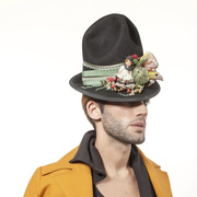 Oversized Black Hat, Unisex Vintage Inspired Folk Hat
