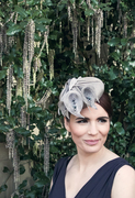 Grey Sinamay Button Hat with Lilies and Freshwater Pearls