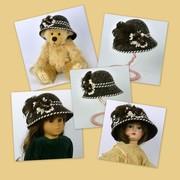 Doll or Teddy Bear Brown & White Felt Hat