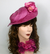 Raspberry Parisisol Straw Fascinator Hat