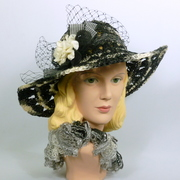 Black, Gray & White Straw Hat