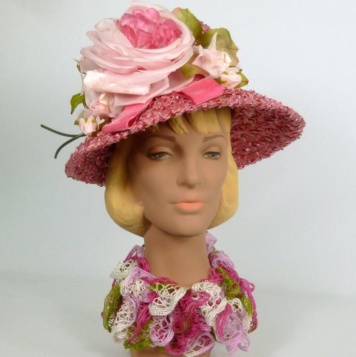 Rose Pink Straw Hat- Modern Cloche Style