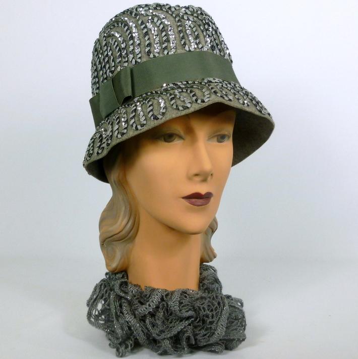 Gray Felt Sequined Cloche Hat
