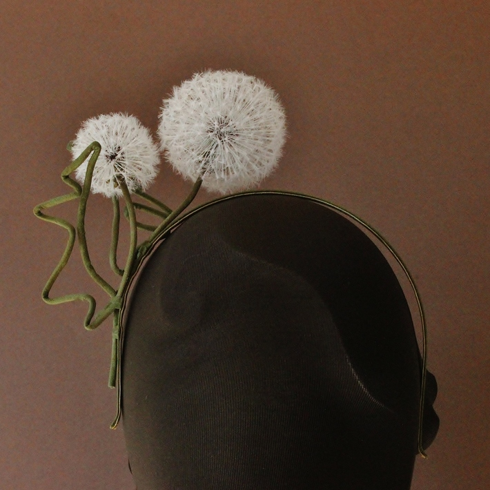 Silk Dandelion Clock Headpiece