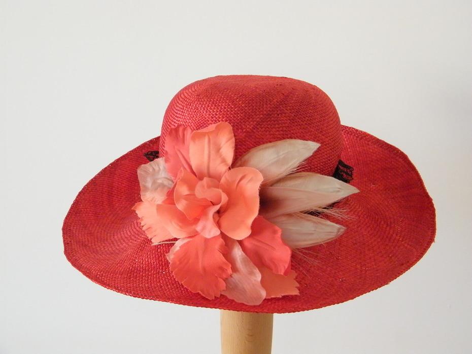 Red Long Brim Summer Hat Rana Hats Israel