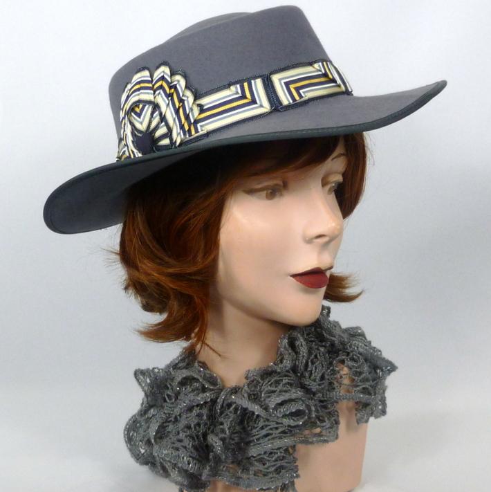 Gray/Grey Shallow Crown Gambler Style Cowboy Hat