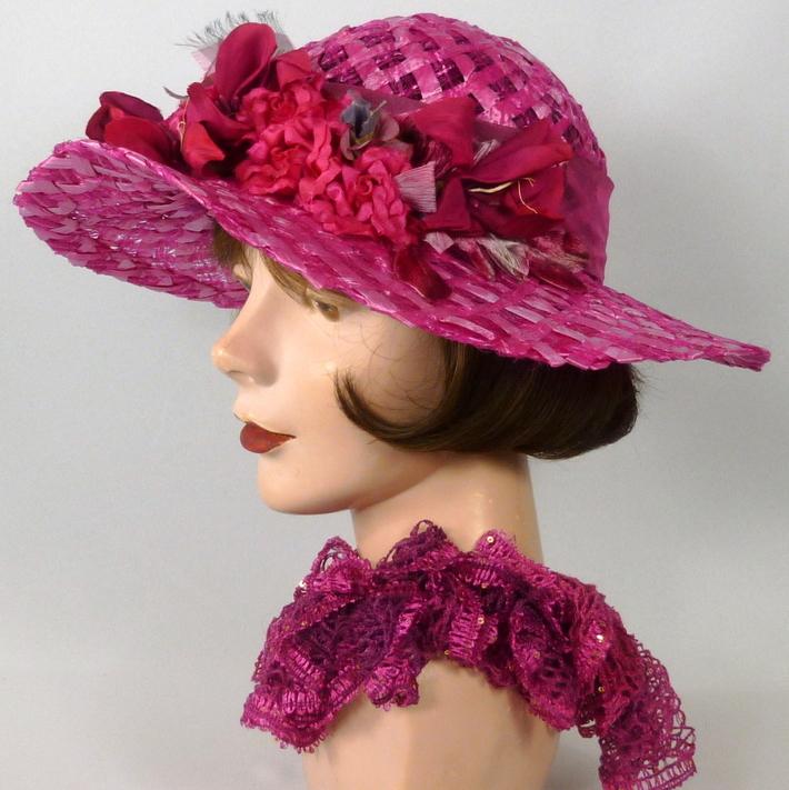 Hot Pink Straw Kentucky Derby Hat