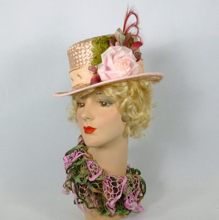 Light Pink Straw Hat - Modern Top Hat Style