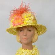 Bright Yellow and Peach Straw Hat