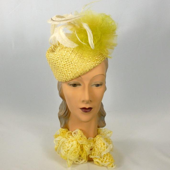 Yellow & White Pillbox Hat