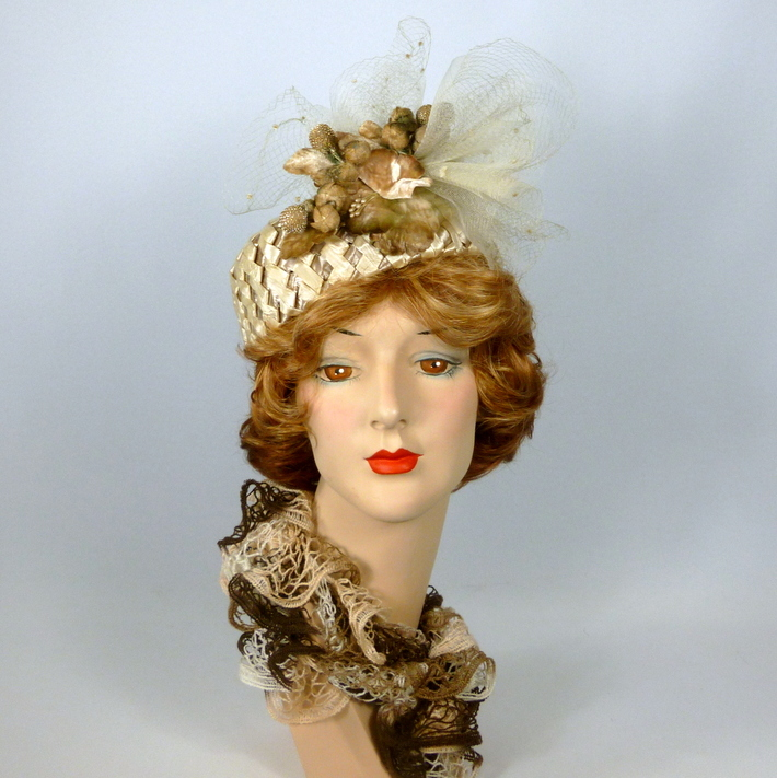 Beige and Brown Straw Pillbox Hat