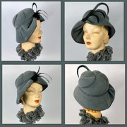 Dark Grey  Velour Felt Hat in 1940s style
