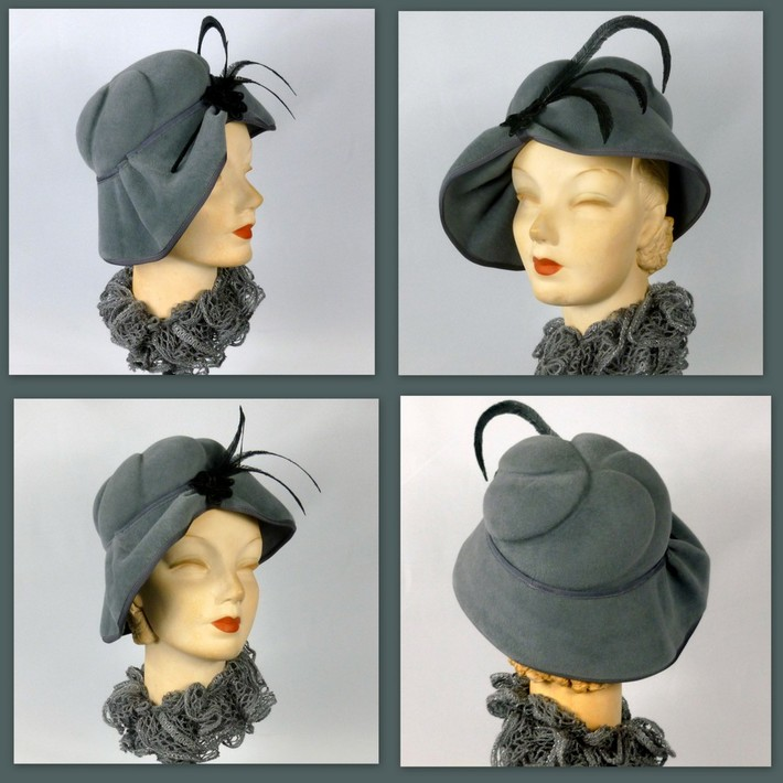Dark Grey  Velour Felt Hat in 1940s style