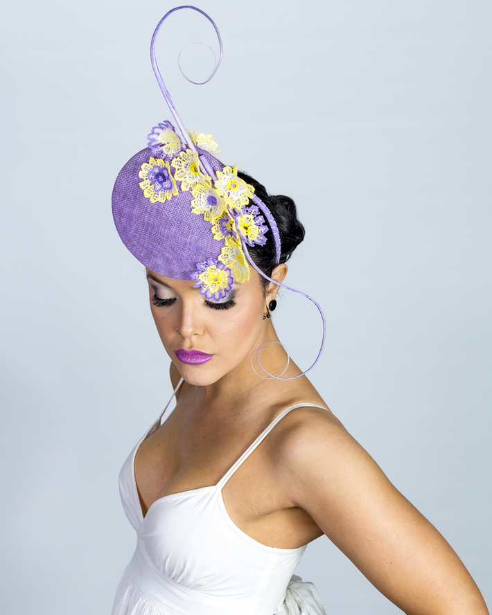 Lilac and lemon percher with handpainted lace detail